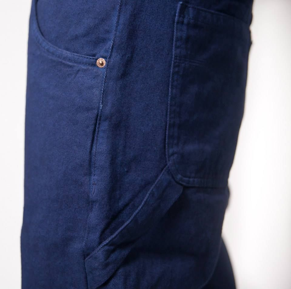 Bull Denim 350gr overdye old work blue. Worker pants. Embroidery on back right pocket. Baggy fit. Available on www.brokeclothing.com