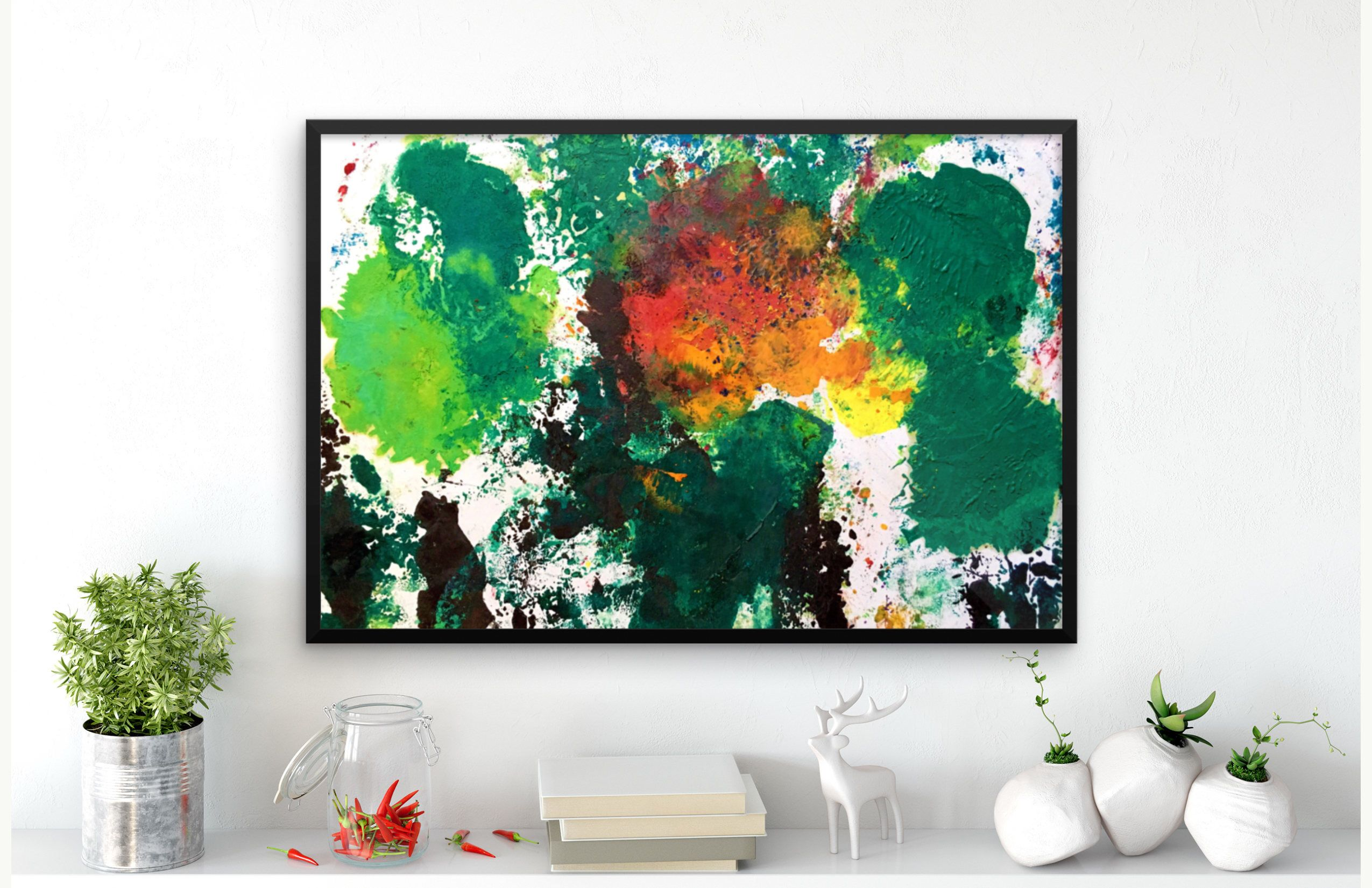 Green Colorful Tree Abstract Painting Living Room Wall Decor, Small ...