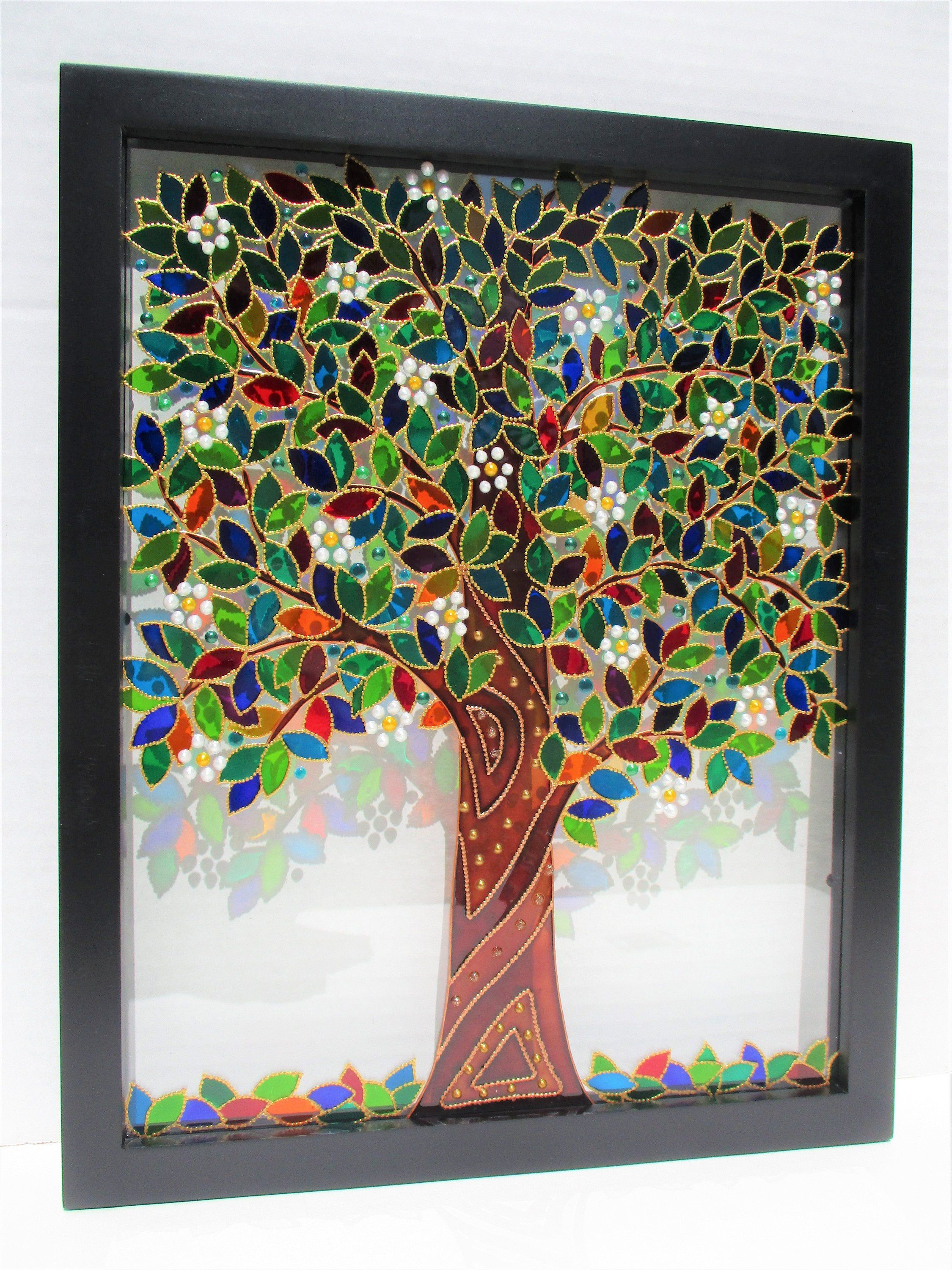 Tree Of Life 15x12 Glass Painting Bohemian Decor Glass Art Suncatcher Stained Glass Wall Decor Window Glass Painting Glass Painting Designs Glass Art Projects