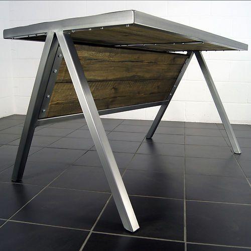 handmade industrial polished metal office desk rustic table