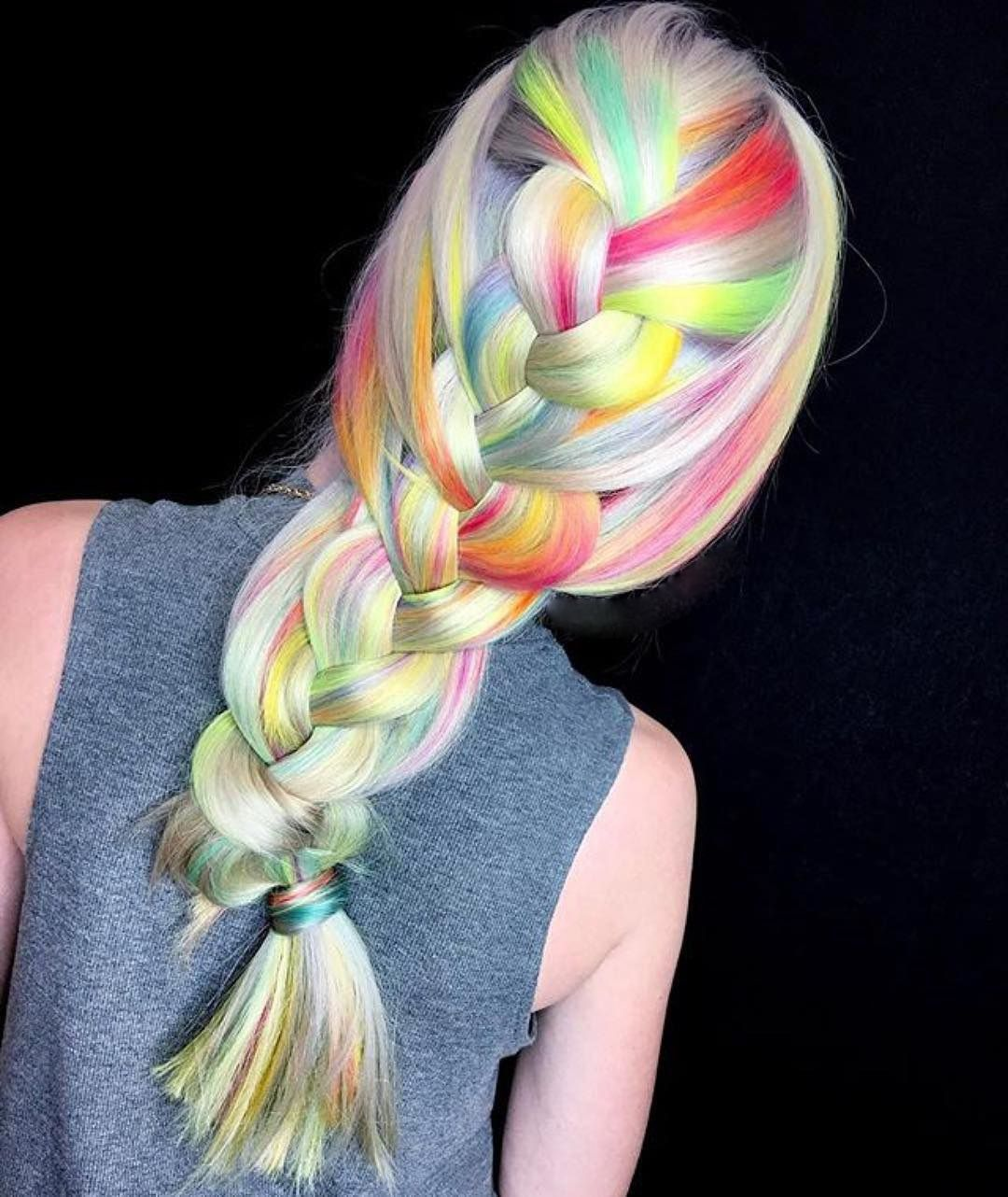 Chic rainbow braid