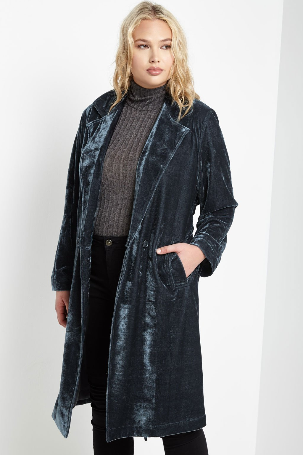 Contemporary Velvet Duster Jacket Plus Size Duster