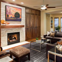 Painted brick fireplace floor to ceiling fireplace - Floor to ceiling brick fireplace makeover ...