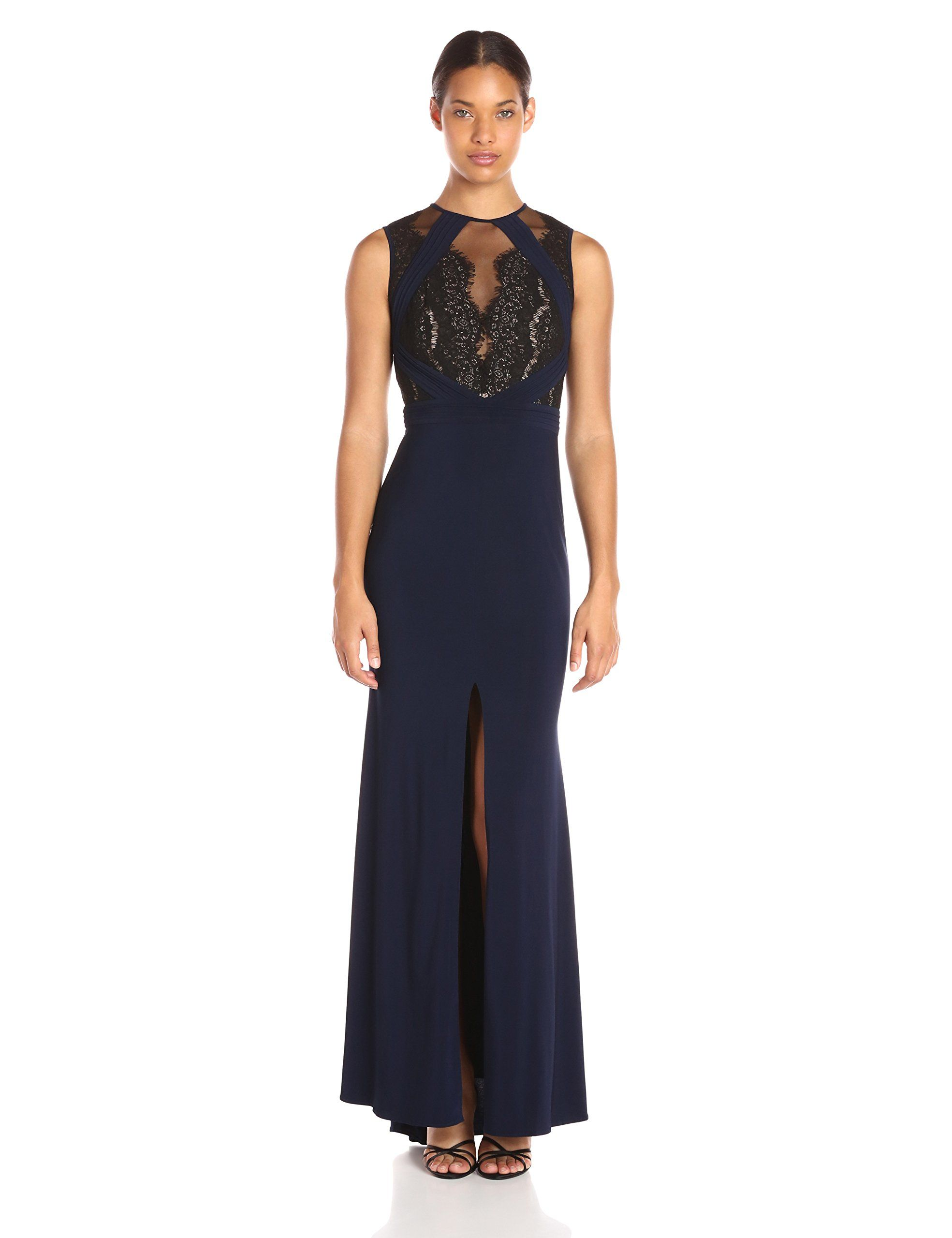 d86f6275 Xscape Women's Long Ity Dress with Lace/Illusion Top, Navy/Black, 6.  Lace/illusion top. Front slit.