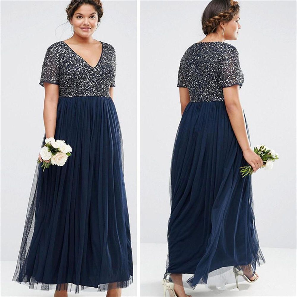 Plus Size Sequins Mother Of The Bride Dress Evening Bridesmaid Gowns Tulle HD272 #Handmade #BallGownBeachDressEmpireWaistMaxi #Formal