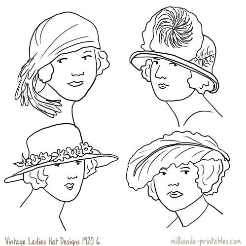 Vintage Womens Hat Design 1920 at wwwmilliandeprintables