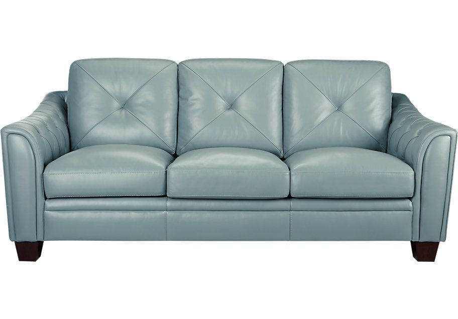 Cindy Crawford Home Marcella Spa Blue Leather Sofa Blue Leather Sofa Blue Leather Couch Leather Sofa