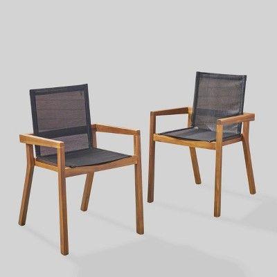 Belfast 2pk Acacia Wood/Mesh Patio Dining Chair - Teak ...
