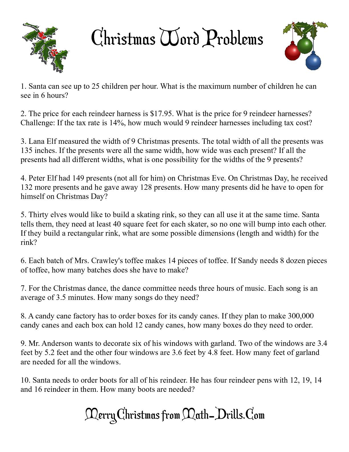 The Word Problems Math Worksheet From The Christmas Math Worksheet Page At Math Drills