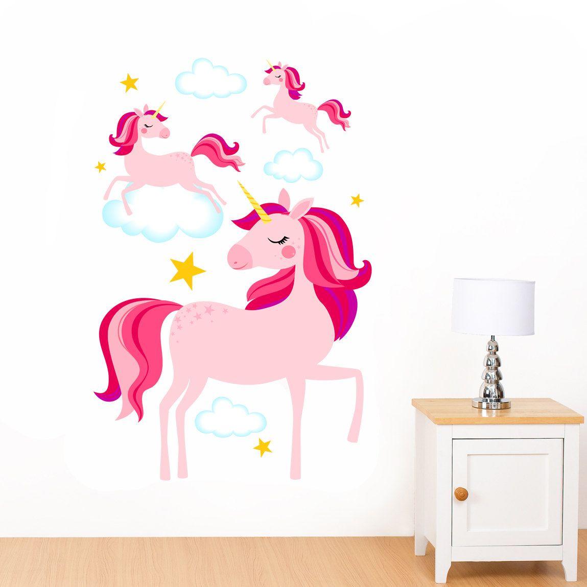 Dreamy Pink Unicorns Clouds Amp Stars Mural Wall Sticker