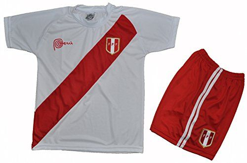 b165395340c Peru Home Soccer Kids Set Jersey with Matching Short White Size 8-10-12