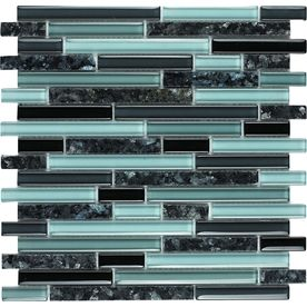 Epoch Architectural Surfaces Spectrum Multi Linear Mosaic Stone And Glass Granite Wall Tile (Common 12In X 12In; Actu