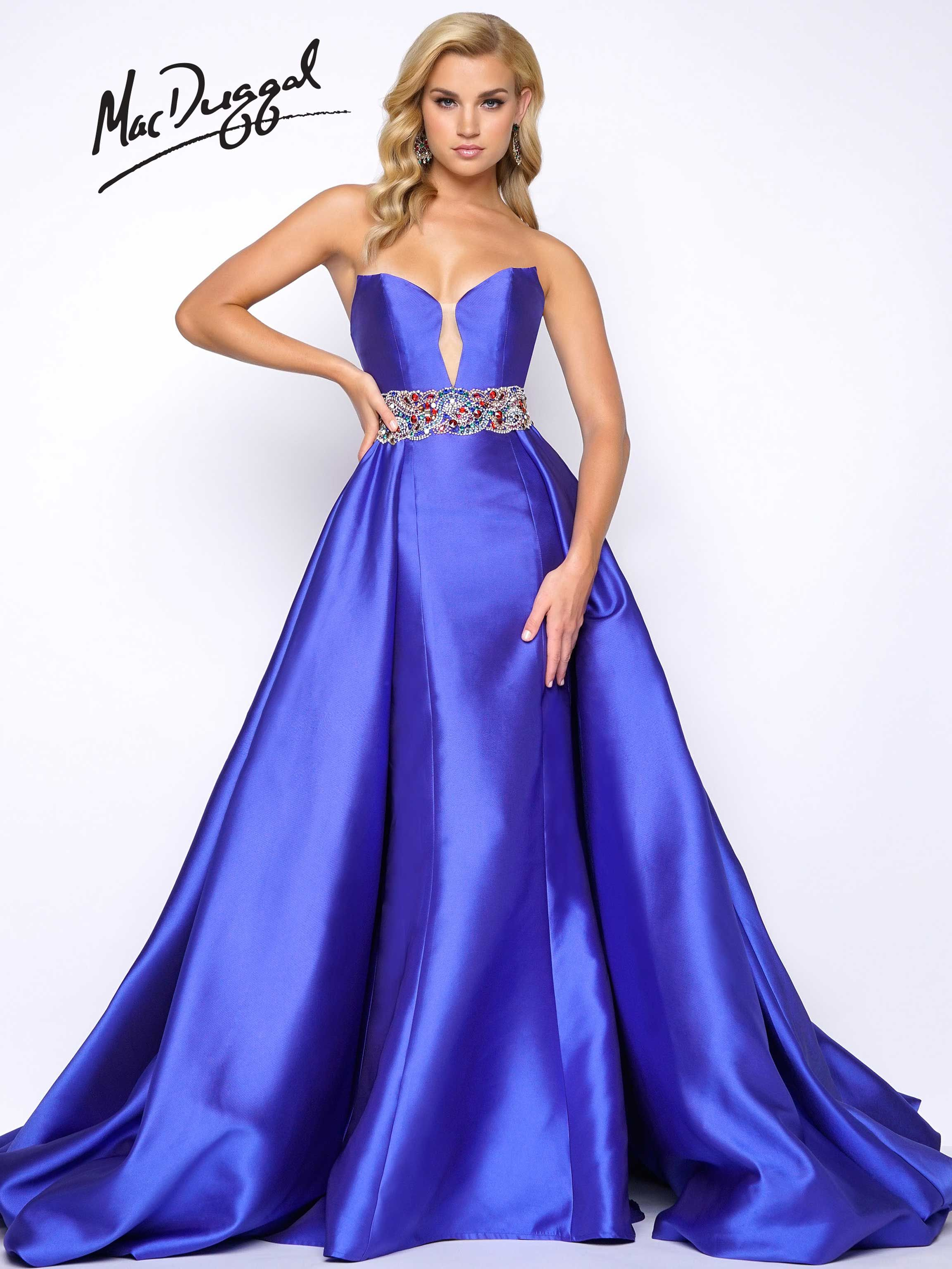 Strapless, sweetheart neckline, satin, column prom dress with full ...
