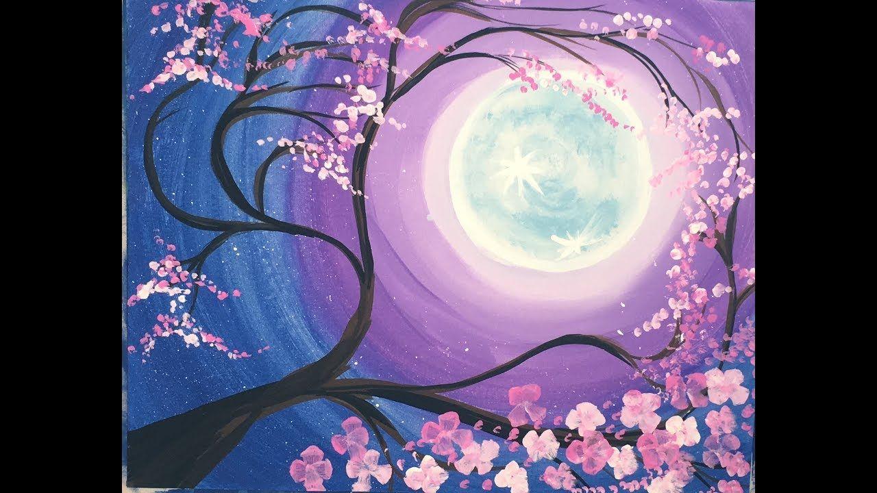 How To Paint A Cherry Blossom Tree With Full Moon Youtube Video Tutorial Stepbysteppai Cherry Blossom Painting Tree Painting Cherry Blossom Painting Acrylic