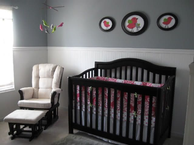 Grey And White With Espresso Nursery Has A Broken Up The Dark Furniture