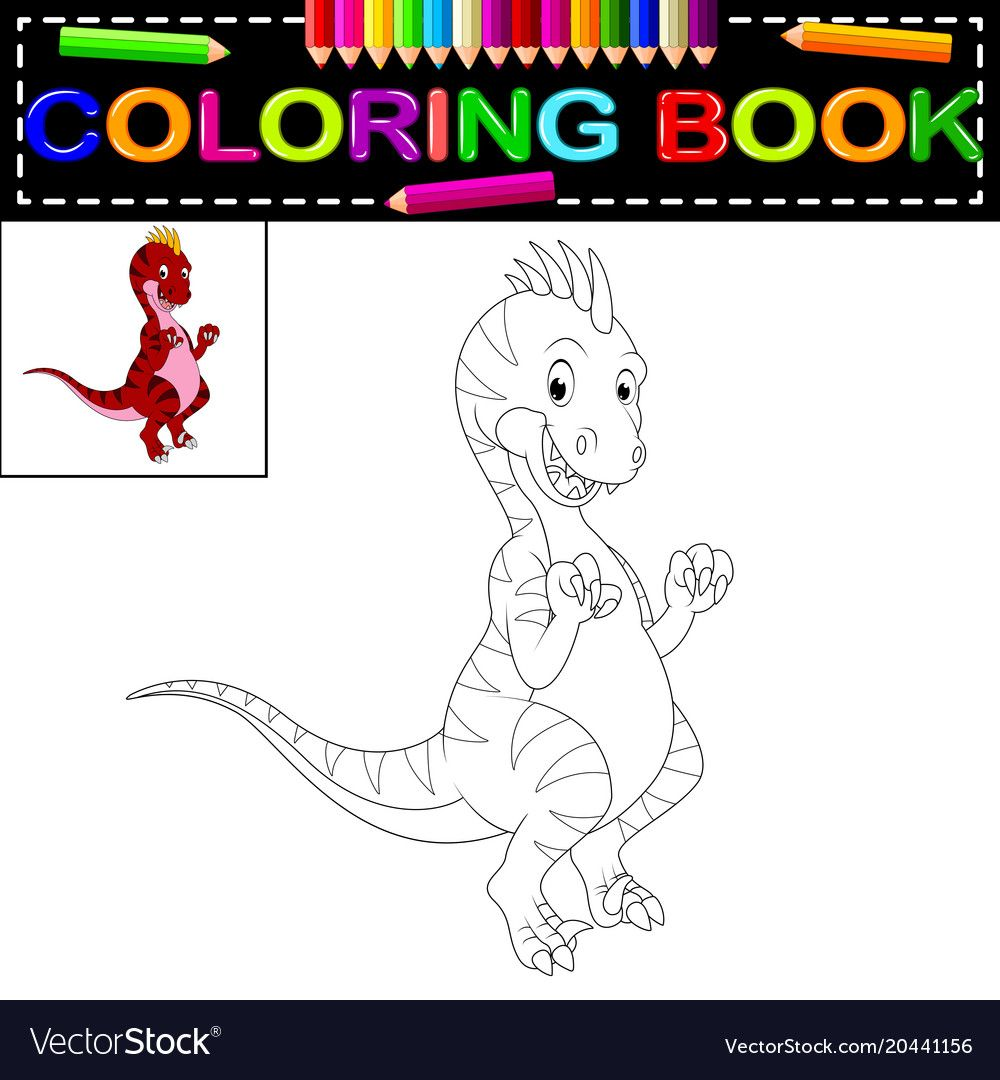 illustration of dinosaur coloring book. Download a Free