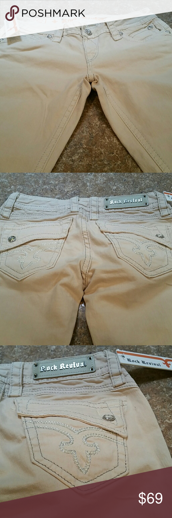 Rock Revivals JOHANNA FROM BUCKLES Straight tan color. Size 28 inseam 32.  DISTRESSED A LITTLE ON HEM LINE. NWOT Buckles Miss Me Pants Straight Leg