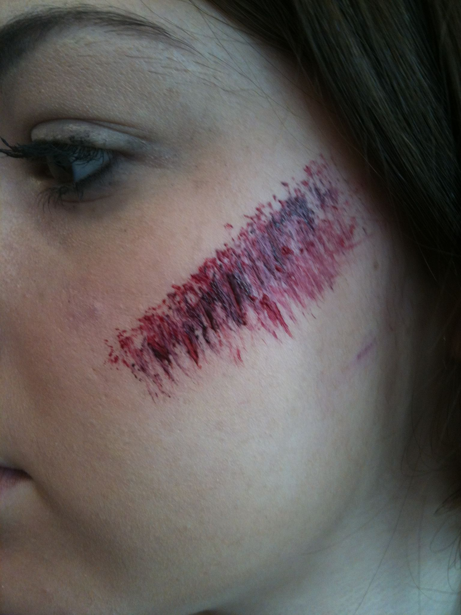 graze special effects makeup college blood cut girl cheek i