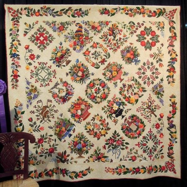 Awesome Reproduction Of A Baltimore Album Quilt C 1840 By