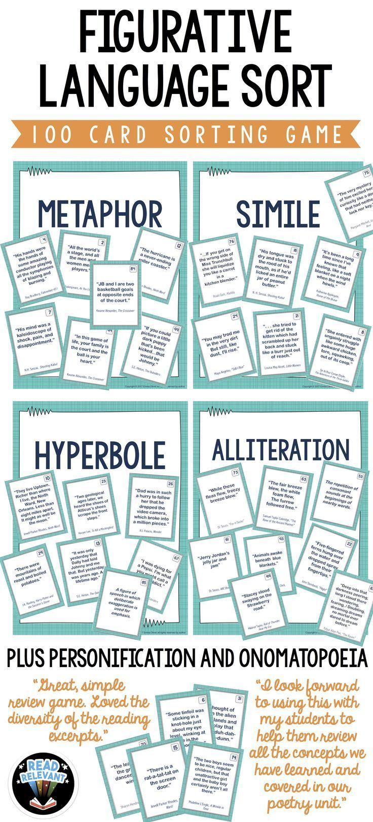 Figurative Language Sort 100 Card Sorting Game Simile