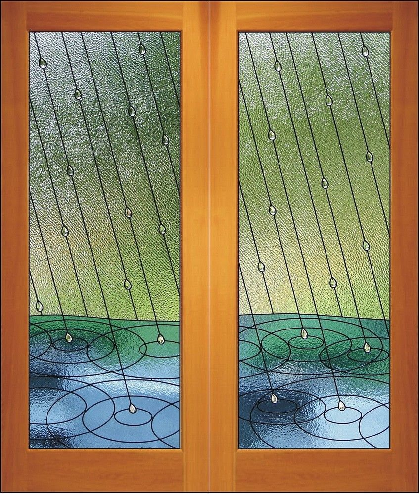 Rainfall  Double Doors by Neil Relkie of Relkie Art Glass Nanaimo Vancouver Island British Columbia & Rainfall Doors u2013 My salute to the rain here on the west coast ...