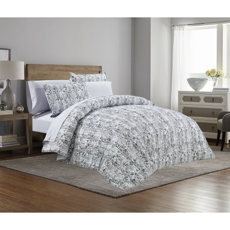 Mainstays Grey Scroll Bed In A Bag Complete Bedding Set Gray