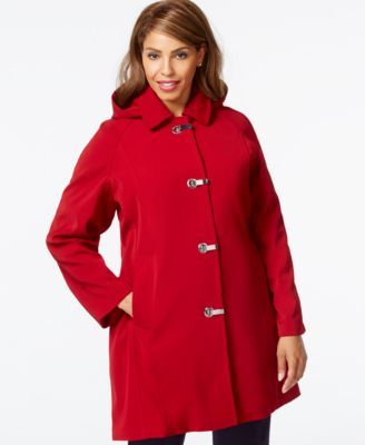 683ae4050a6 London Fog Plus Size Hooded Clip-Front Jacket