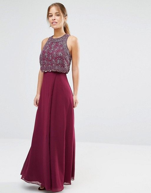 ASOS Petite | ASOS PETITE All Over Embellished Crop Top Maxi Dress ...