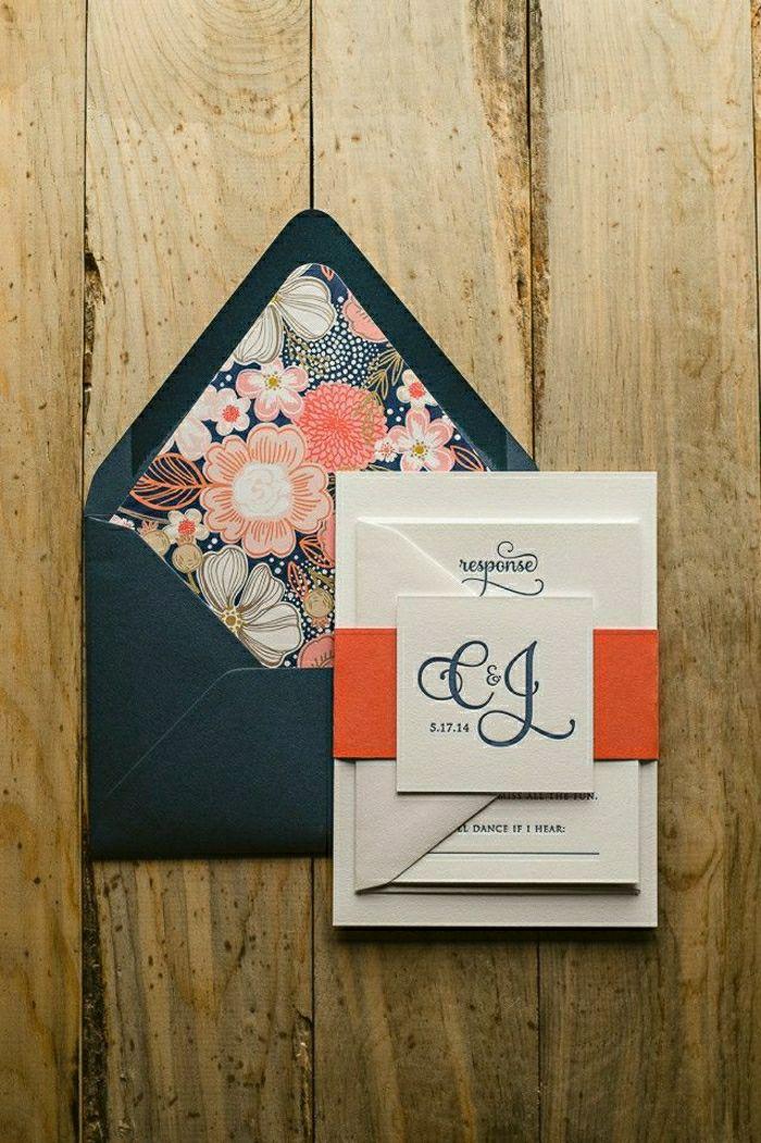 Einladung Hochzeit Feines Design Schwarzer Briefumschlag Blumen Dekoration
