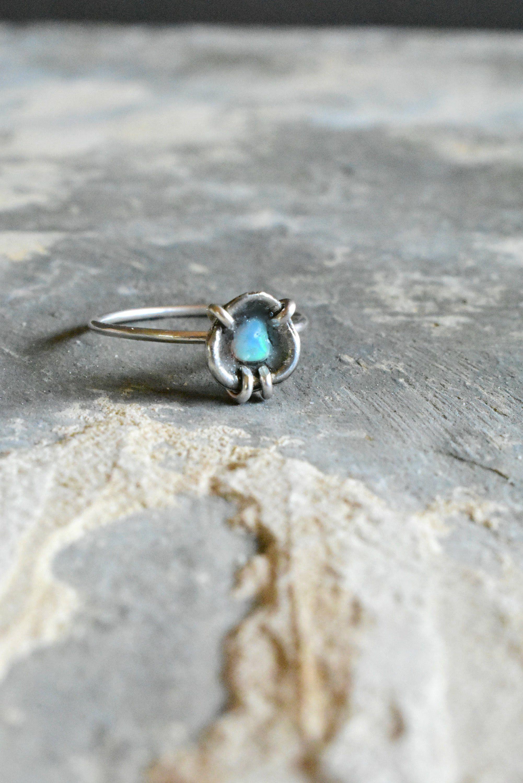 Solitaire Fire Opal Ring, Uncut Opal Flower Ring, Unique