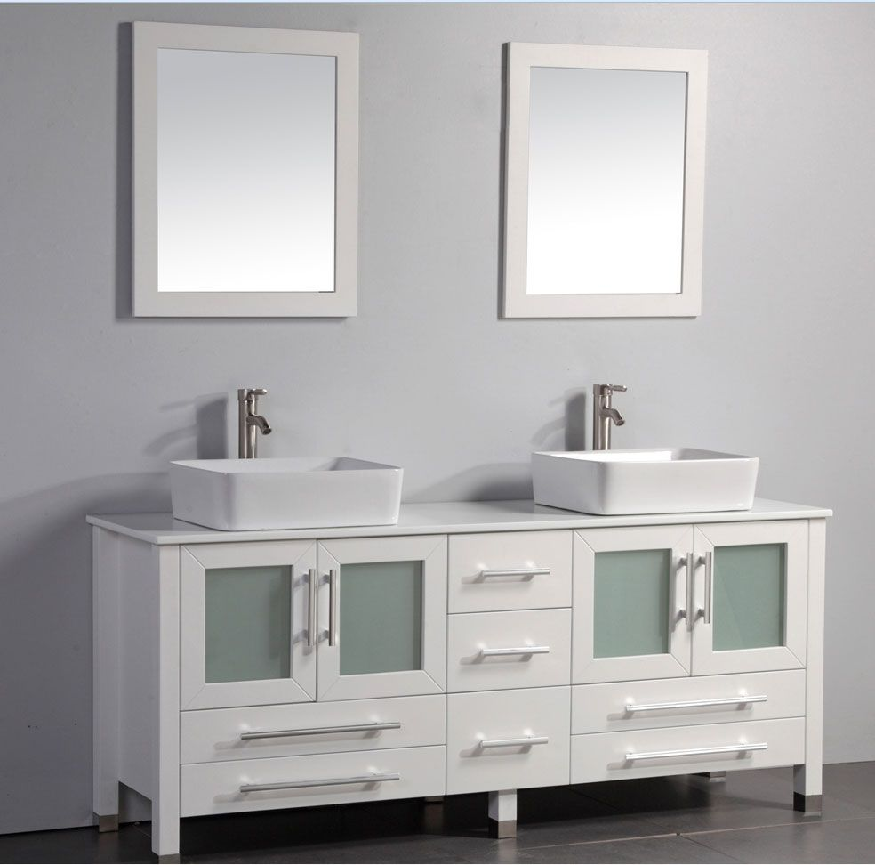 Acer 61 Inch White Double Vessel Sinks Bathroom Vanity With