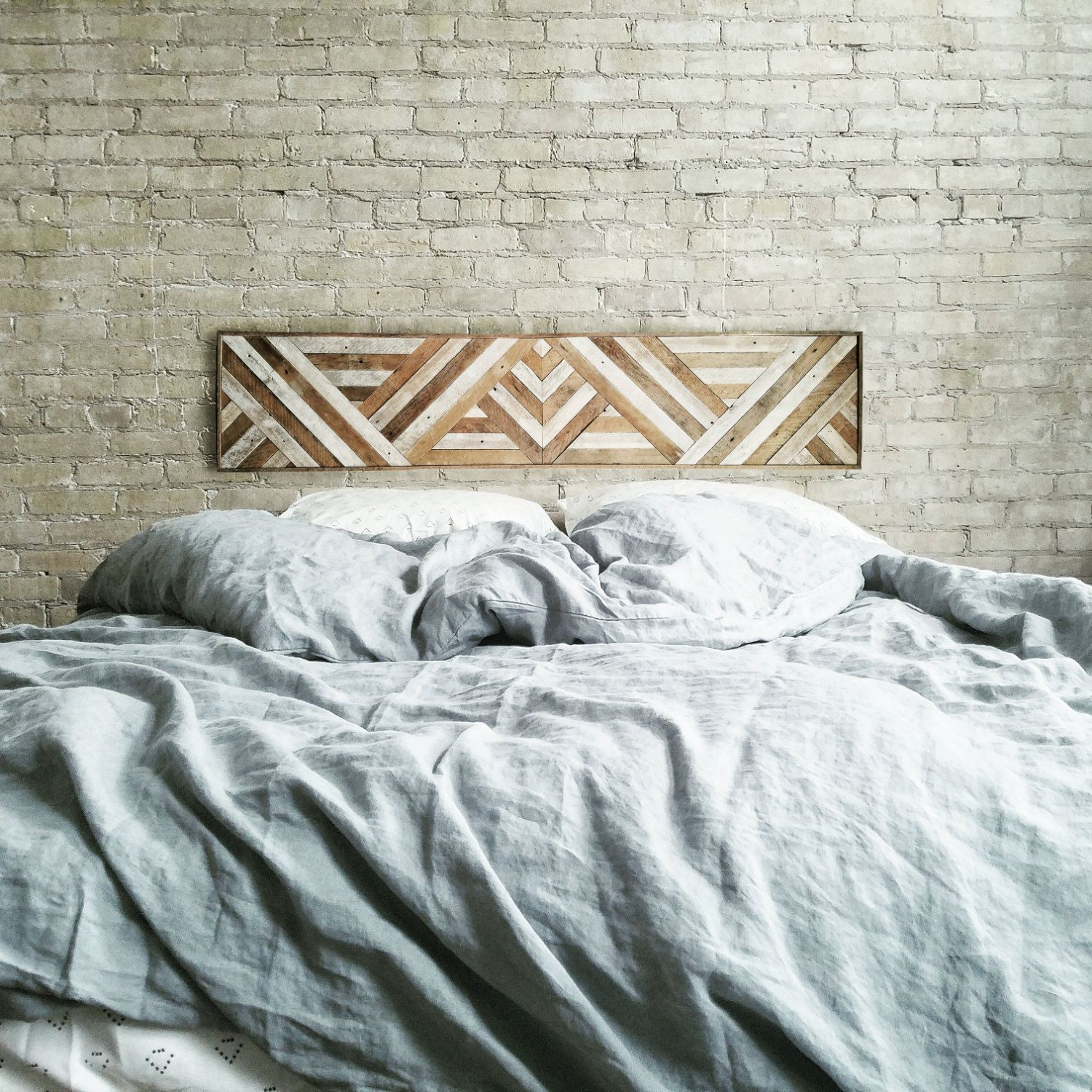 Reclaimed Wood Wall Art, Queen Headboard, Wood Wall Decor, Geometric  Triangle Pattern, 60