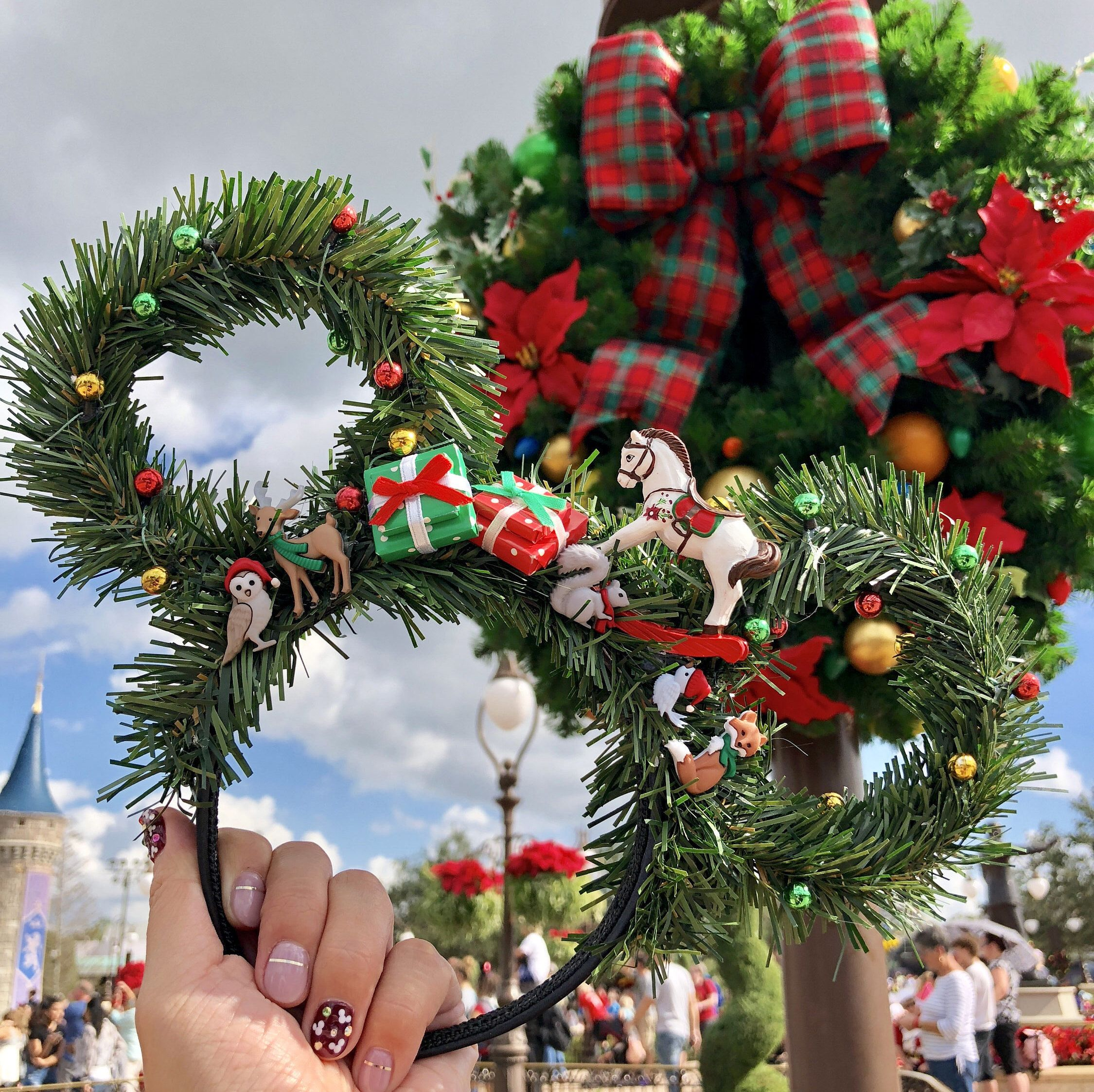 Custom Floral Ears Christmas Presents Under The Tree Disney Ears