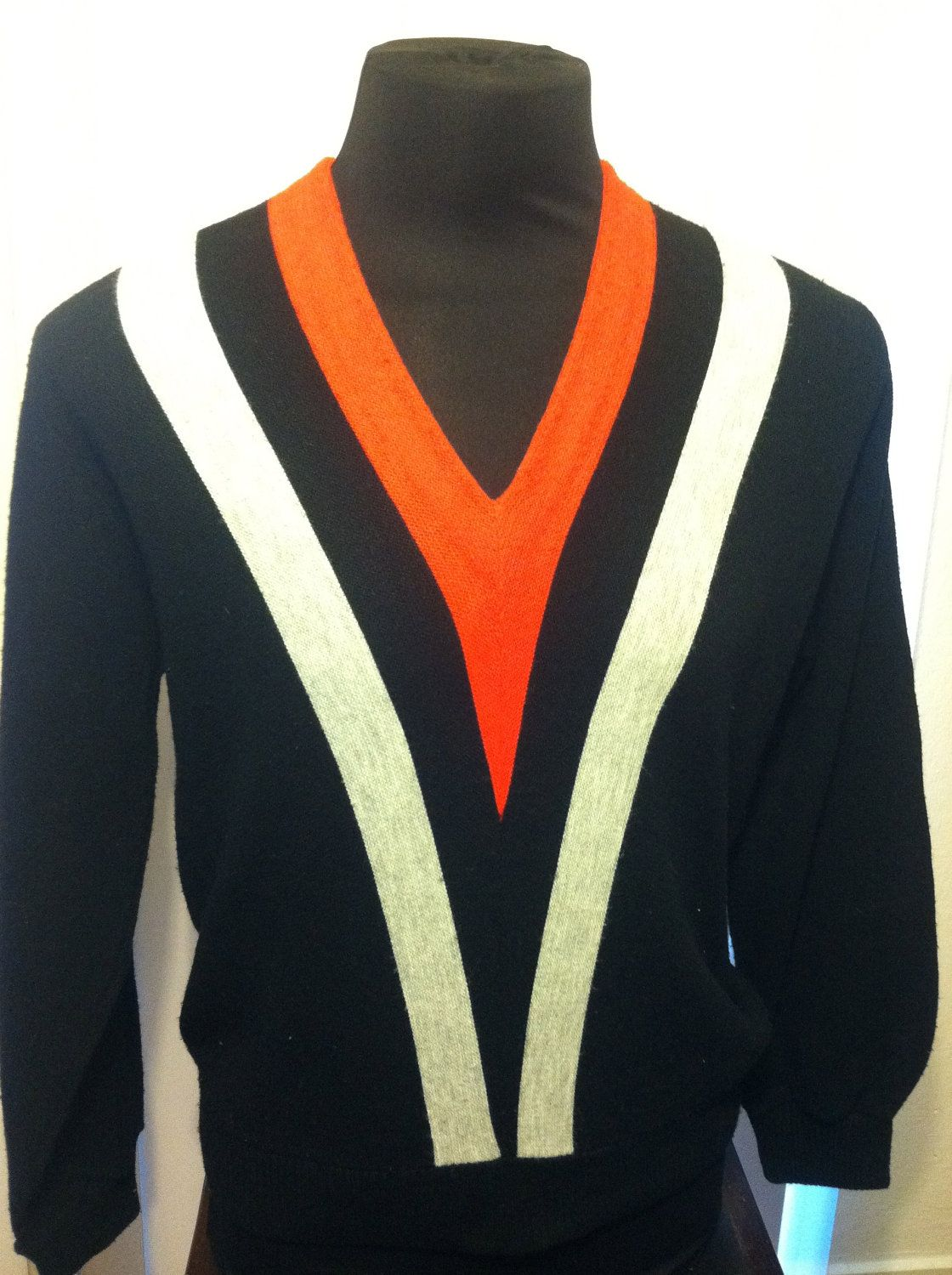 1960's Vintage Barclay Medium Orlon Acrylic V Neck Mens Sweater. $24.99, via Etsy.