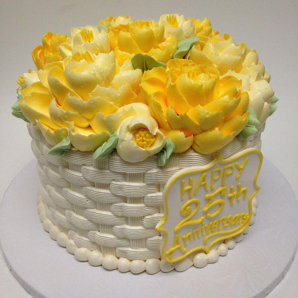 Basket weave butter cream th anniversary cake art