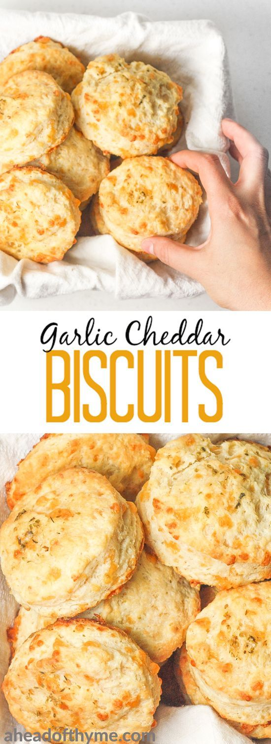 Garlic cheddar biscuits qualify as breakfast or a dinner side dish. These are packed with flavour and can be prepped for the oven in less than 20 minutes!   aheadofthyme.com