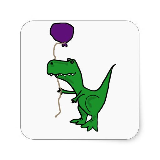 Funny green trex dinosaur holding balloon square sticker