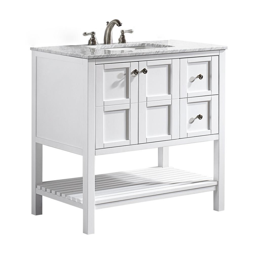Roswell Florence 36 In W X 22 In D X 35 In H Vanity In White With Marble Vanity Top In White With Basin 713036 Wh Ca Nm Single Bathroom Vanity Marble Vanity Tops Vanity
