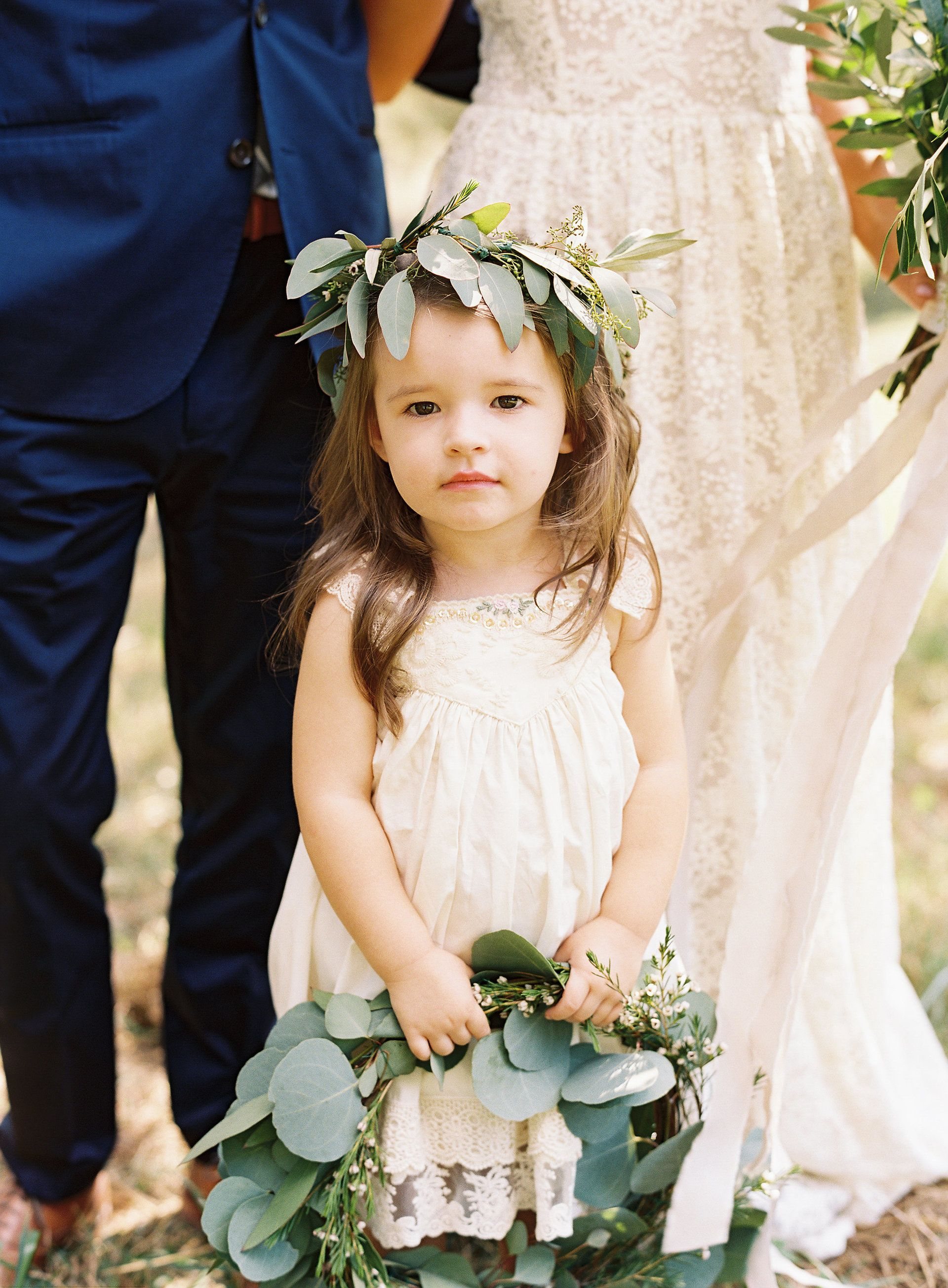 The smarter way to wed flower girls ring bearers pinterest flower girl wreath eucalyptus flower crown white dress natural wedding nathan westerfield izmirmasajfo