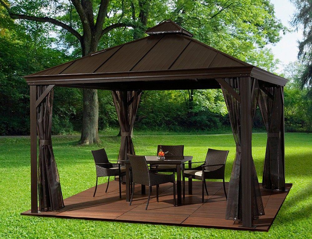 designer of backyard style hard roof gazebo photo