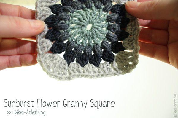Sunburst Flower Granny Squares | Häkel-Anleitung #crochettutorial ...