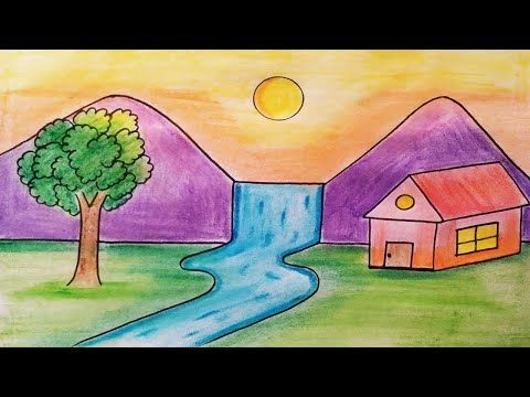 Easy landscape drawing for kids and beginners|Learn house and nature simple painting