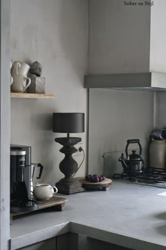 Sober en stijl keuken pinterest keuken keukens en landelijk wonen - Keuken rustieke grijze ...