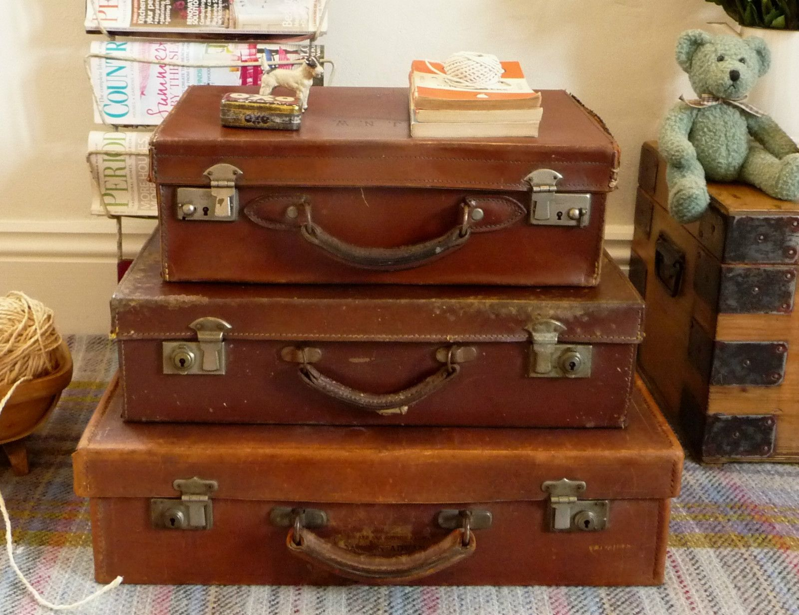 3 VINTAGE SUITCASES Storage Boxes SET of THREE OLD CASES Luggage ...