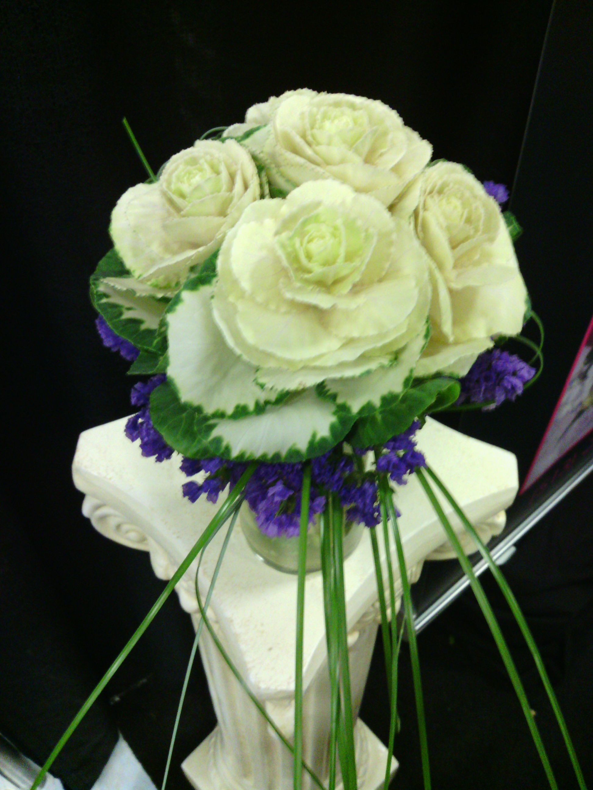 Garden Bridal Boouquet Of Varigated Green White Kale With