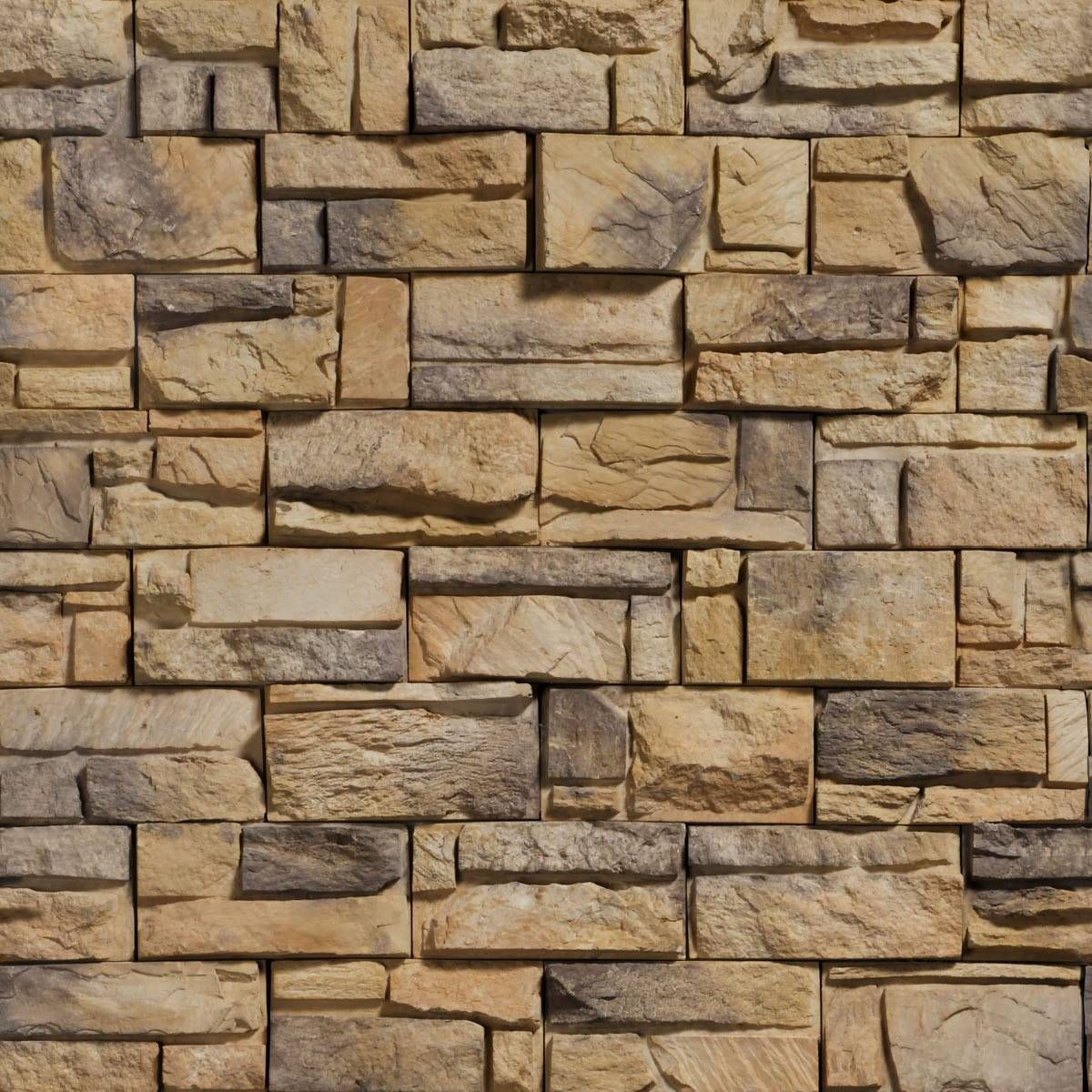 tan and grey stone in a brick wall pattern material