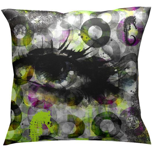 Red Noir Eye Sea Throw Pillow