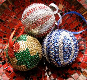 I've made all kinds of ornaments over the years, but these are the ornaments that I am most proud of.  The base of these are styrofoam ba...