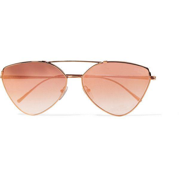cf765b59f2cd Prada Cat-eye rose gold-tone mirrored sunglasses (1