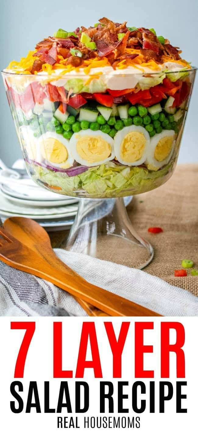 7 Layer Salad is an easy, make-ahead recipe perfect for a crowd! With crisp veggies and tangy dressing layered on top, it's a potluck favorite!